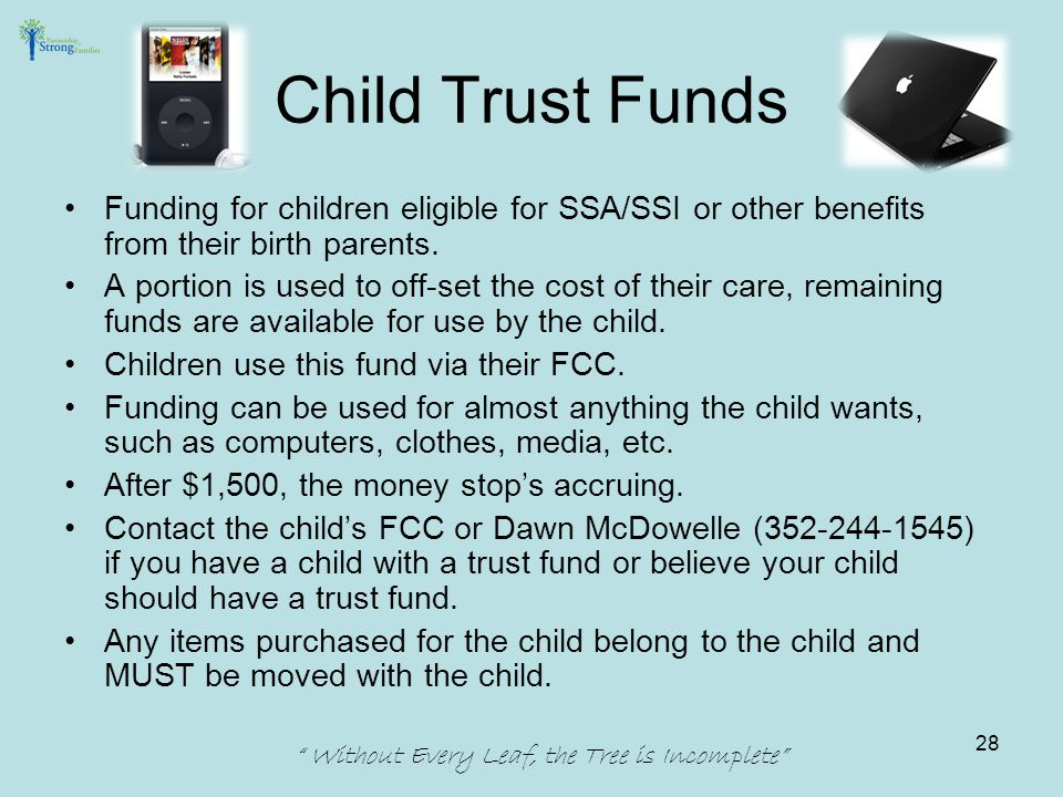 Child Trust Funds Funding for children eligible for SSA/SSI or other benefits from their birth parents.