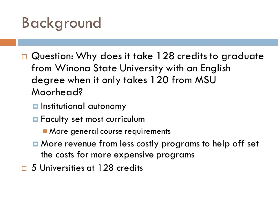 Background  Question: Why does it take 128 credits to graduate from Winona State University with an English degree when it only takes 120 from MSU Moorhead.