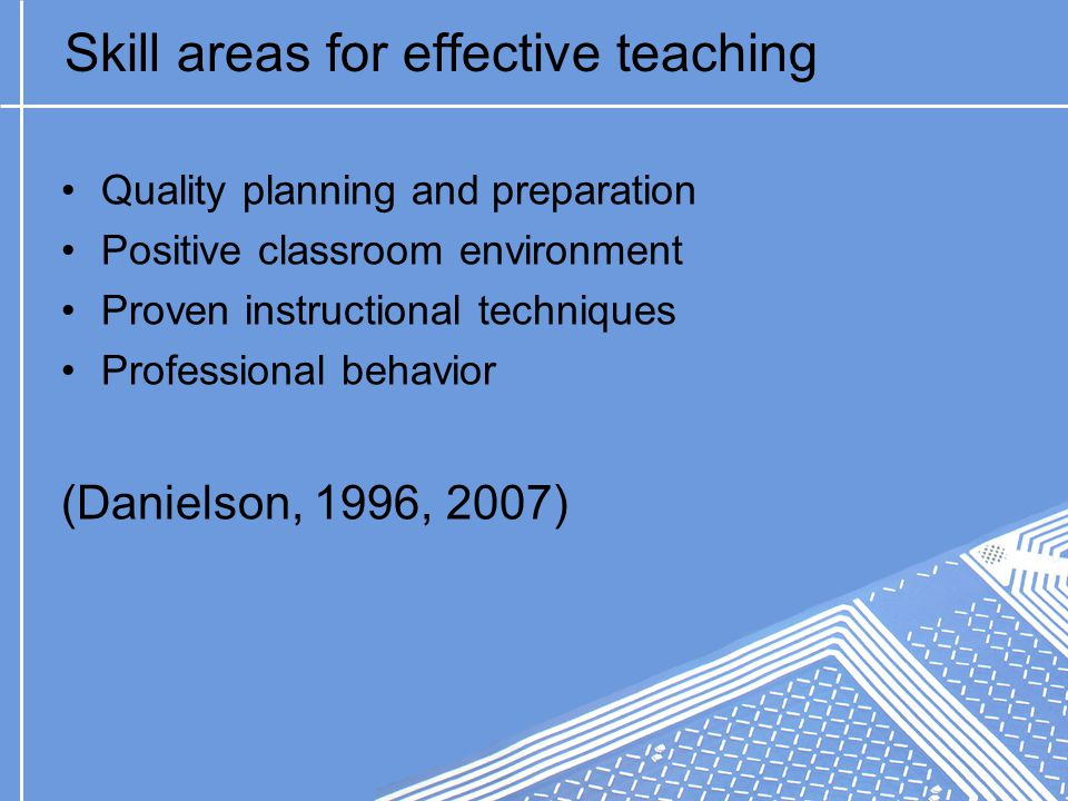 Skill areas for effective teaching Quality planning and preparation Positive classroom environment Proven instructional techniques Professional behavior (Danielson, 1996, 2007)