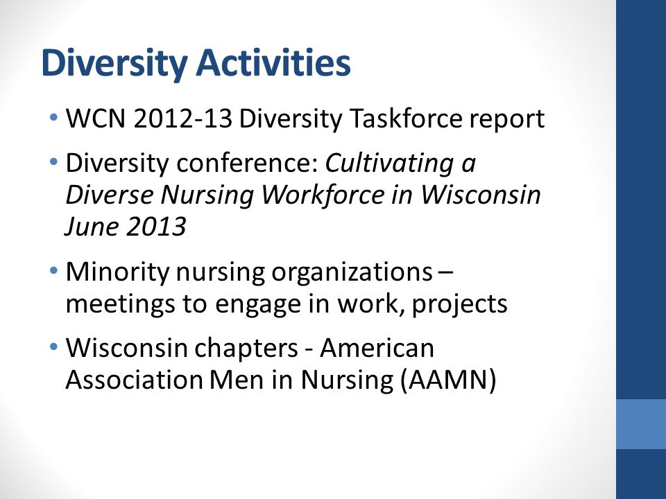 Diversity Activities WCN 2012-13 Diversity Taskforce report Diversity conference: Cultivating a Diverse Nursing Workforce in Wisconsin June 2013 Minority nursing organizations – meetings to engage in work, projects Wisconsin chapters - American Association Men in Nursing (AAMN)