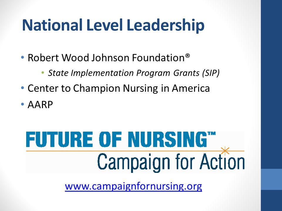 National Level Leadership Robert Wood Johnson Foundation® State Implementation Program Grants (SIP) Center to Champion Nursing in America AARP www.cam