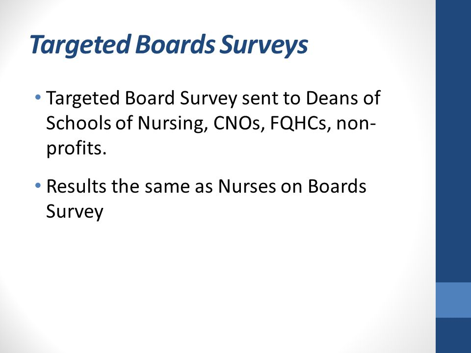 Targeted Boards Surveys Targeted Board Survey sent to Deans of Schools of Nursing, CNOs, FQHCs, non- profits. Results the same as Nurses on Boards Sur