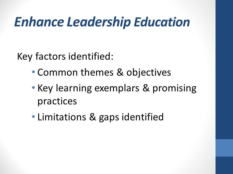 Enhance Leadership Education Key factors identified: Common themes & objectives Key learning exemplars & promising practices Limitations & gaps identi