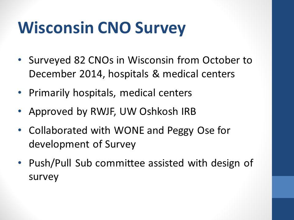 Wisconsin CNO Survey Surveyed 82 CNOs in Wisconsin from October to December 2014, hospitals & medical centers Primarily hospitals, medical centers App