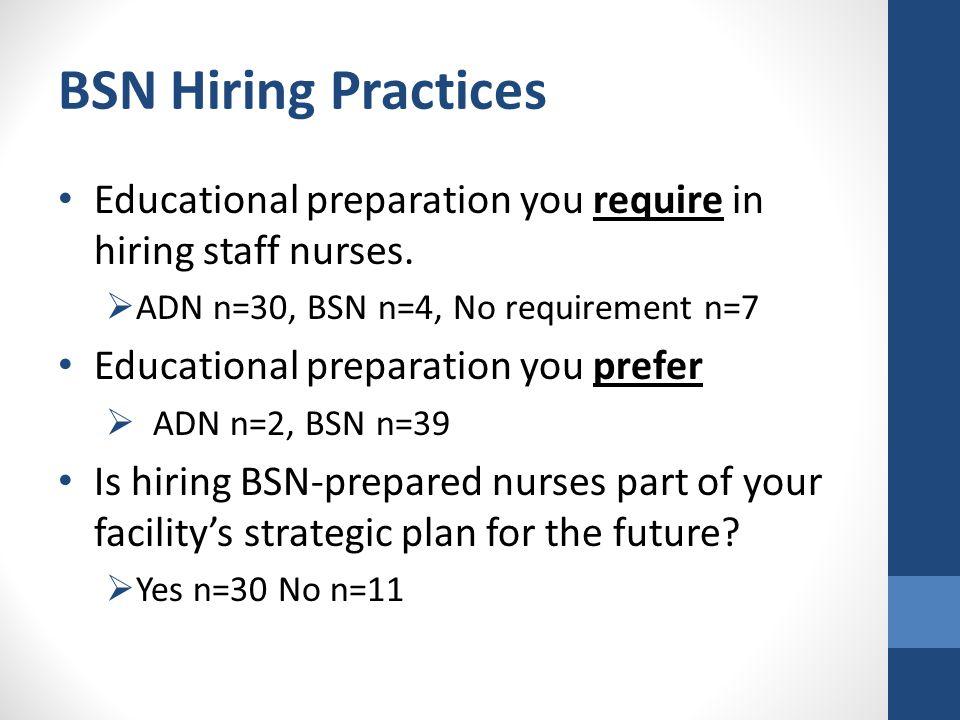 BSN Hiring Practices Educational preparation you require in hiring staff nurses.  ADN n=30, BSN n=4, No requirement n=7 Educational preparation you p