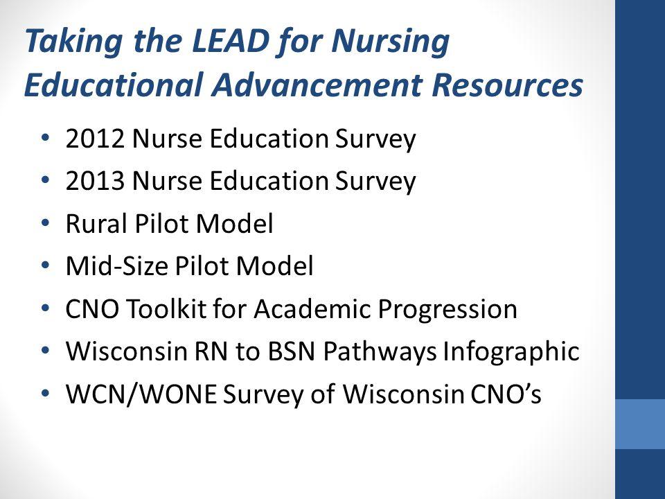 Taking the LEAD for Nursing Educational Advancement Resources 2012 Nurse Education Survey 2013 Nurse Education Survey Rural Pilot Model Mid-Size Pilot
