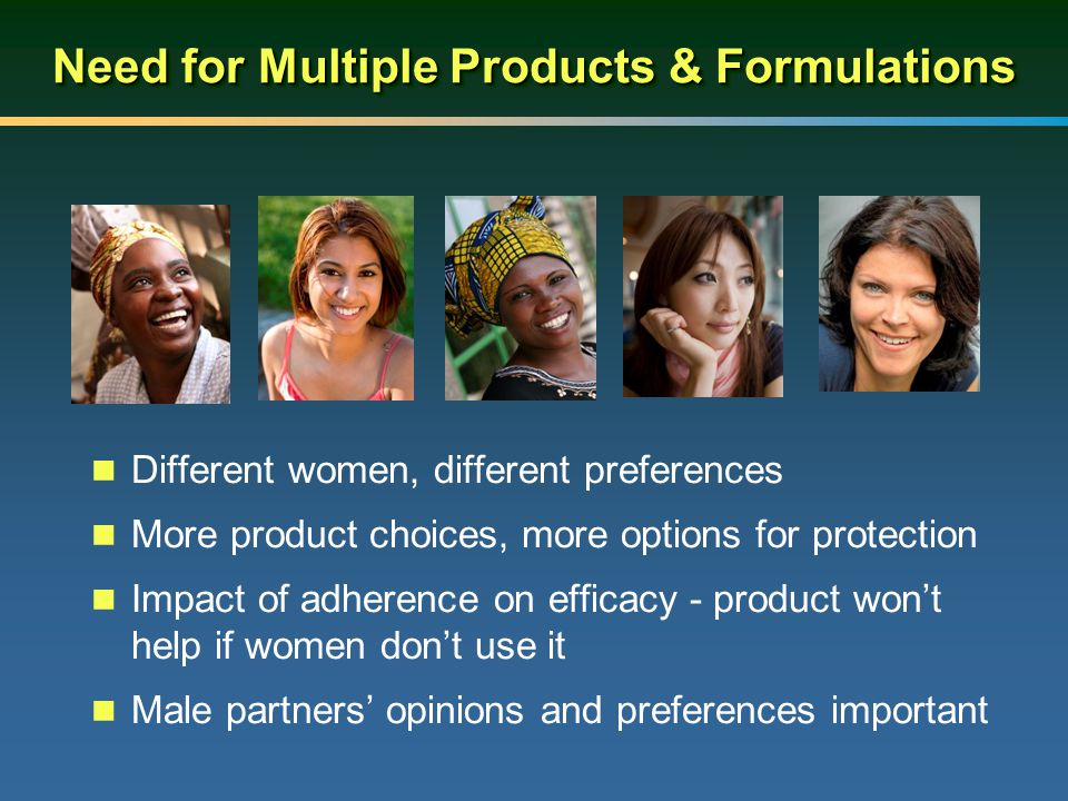 Need for Multiple Products & Formulations Different women, different preferences More product choices, more options for protection Impact of adherence on efficacy - product won't help if women don't use it Male partners' opinions and preferences important