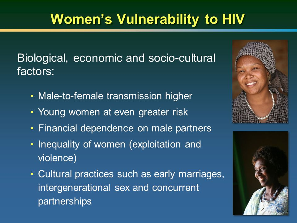 Women's Vulnerability to HIV Biological, economic and socio-cultural factors: Male-to-female transmission higher Young women at even greater risk Fina