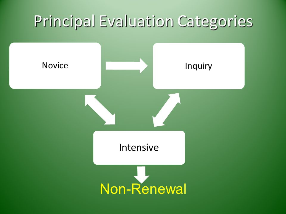 Principal Evaluation Categories NoviceInquiry Intensive Non-Renewal
