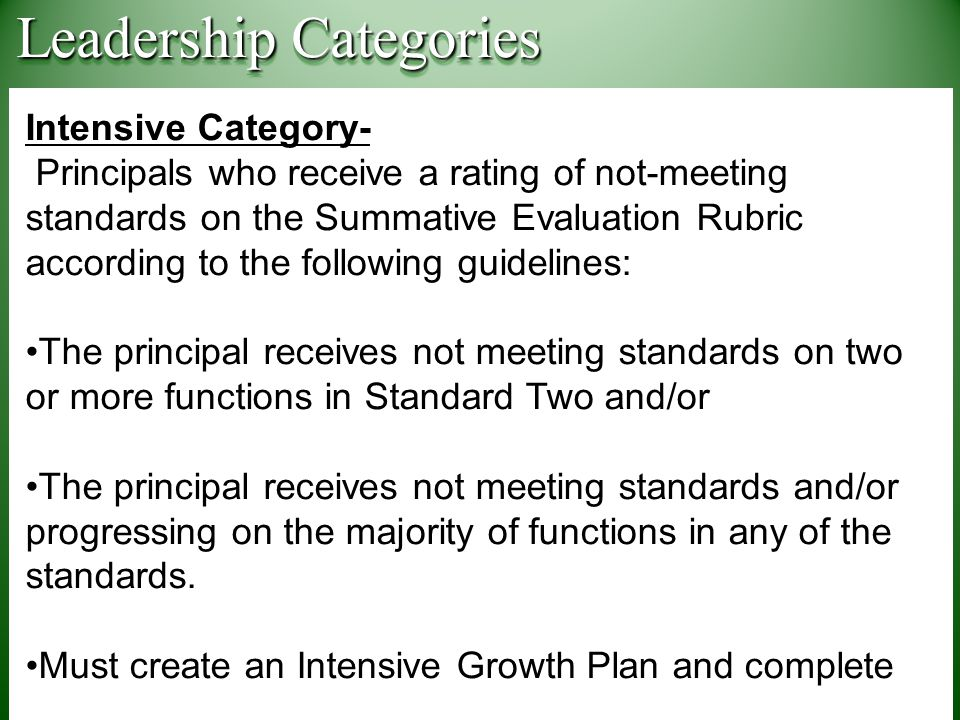 Intensive Category- Principals who receive a rating of not-meeting standards on the Summative Evaluation Rubric according to the following guidelines: The principal receives not meeting standards on two or more functions in Standard Two and/or The principal receives not meeting standards and/or progressing on the majority of functions in any of the standards.