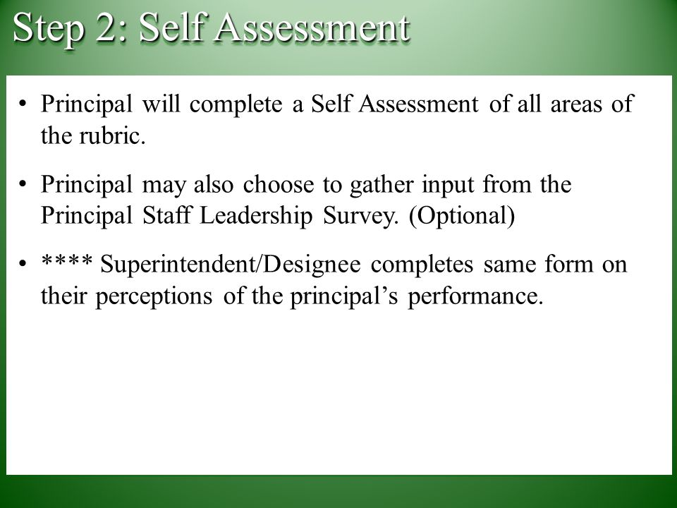 Principal will complete a Self Assessment of all areas of the rubric.