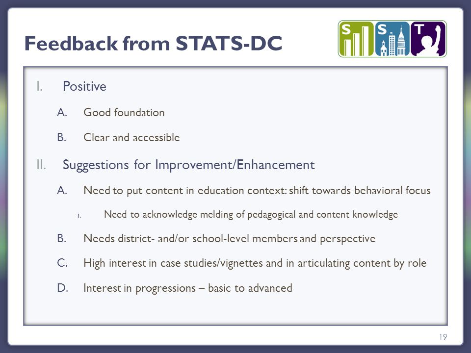 19 Feedback from STATS-DC I.Positive A.Good foundation B.Clear and accessible II.Suggestions for Improvement/Enhancement A.Need to put content in education context: shift towards behavioral focus i.