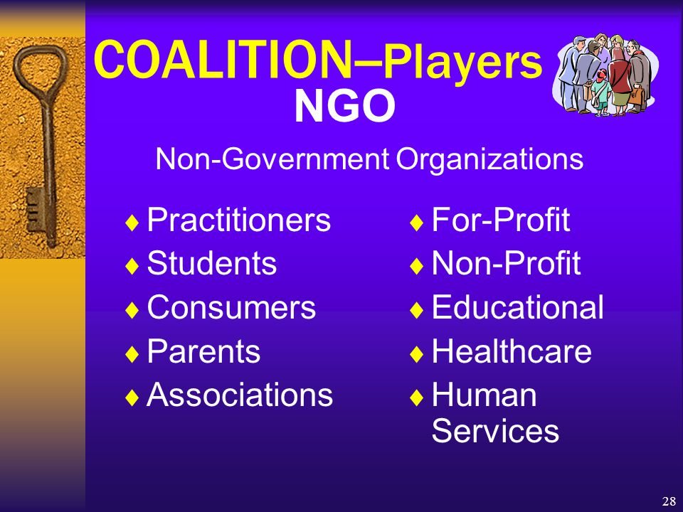 28 COALITION-- Players NGO Non-Government Organizations  For-Profit  Non-Profit  Educational  Healthcare  Human Services  Practitioners  Students  Consumers  Parents  Associations