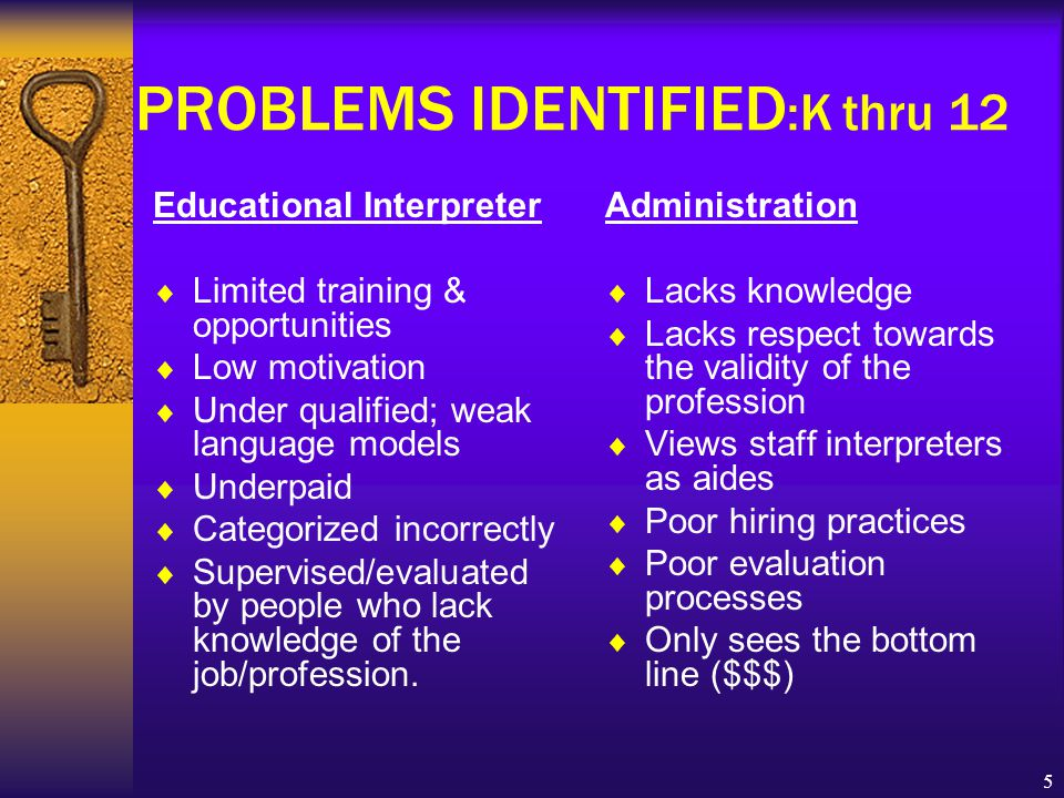 5 PROBLEMS IDENTIFIED :K thru 12 Educational Interpreter  Limited training & opportunities  Low motivation  Under qualified; weak language models  Underpaid  Categorized incorrectly  Supervised/evaluated by people who lack knowledge of the job/profession.