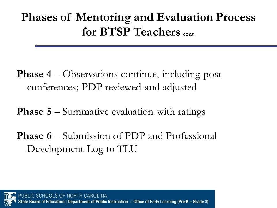 Phase 4 – Observations continue, including post conferences; PDP reviewed and adjusted Phase 5 – Summative evaluation with ratings Phase 6 – Submission of PDP and Professional Development Log to TLU Phases of Mentoring and Evaluation Process for BTSP Teachers cont.