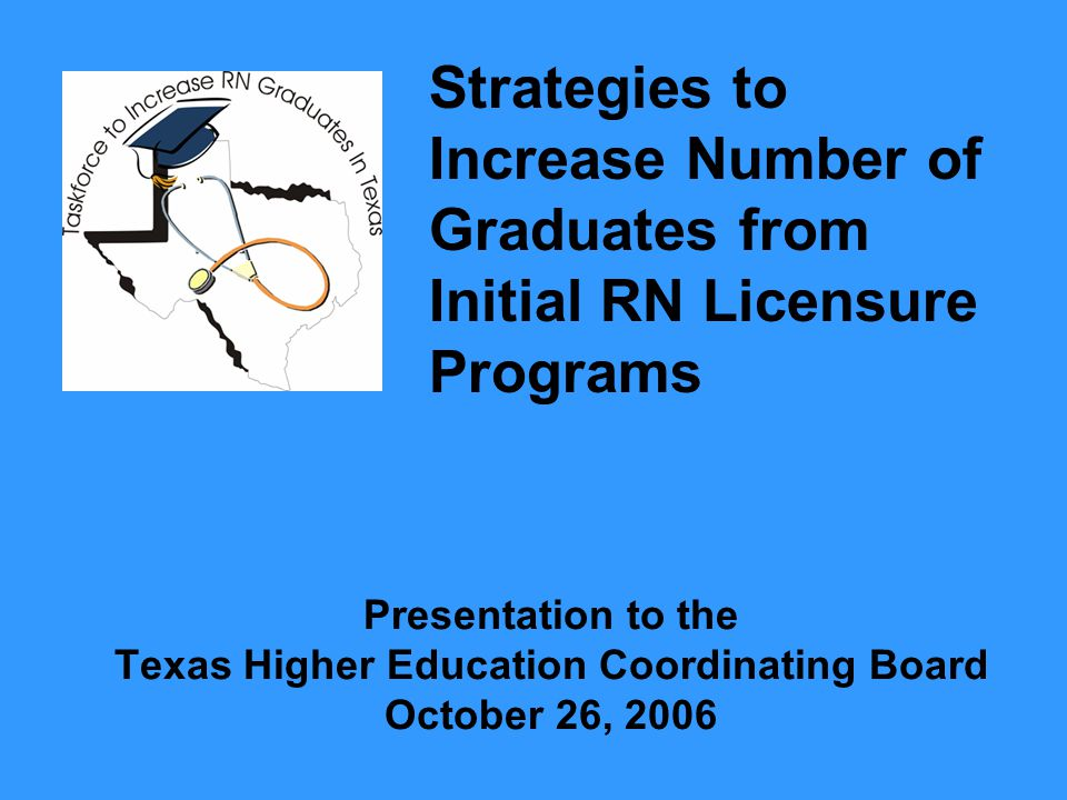 Focus of Study State needs to increase nurse production by 50% by 2010 Find strategies for increasing graduation rates from initial RN licensure programs (Senate Bill 132) Find ways to increase the number of graduates from these programs to meet targets for future demand for nurses