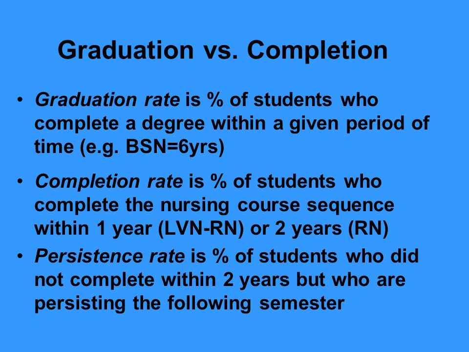 Graduation vs. Completion Graduation rate is % of students who complete a degree within a given period of time (e.g. BSN=6yrs) Completion rate is % of