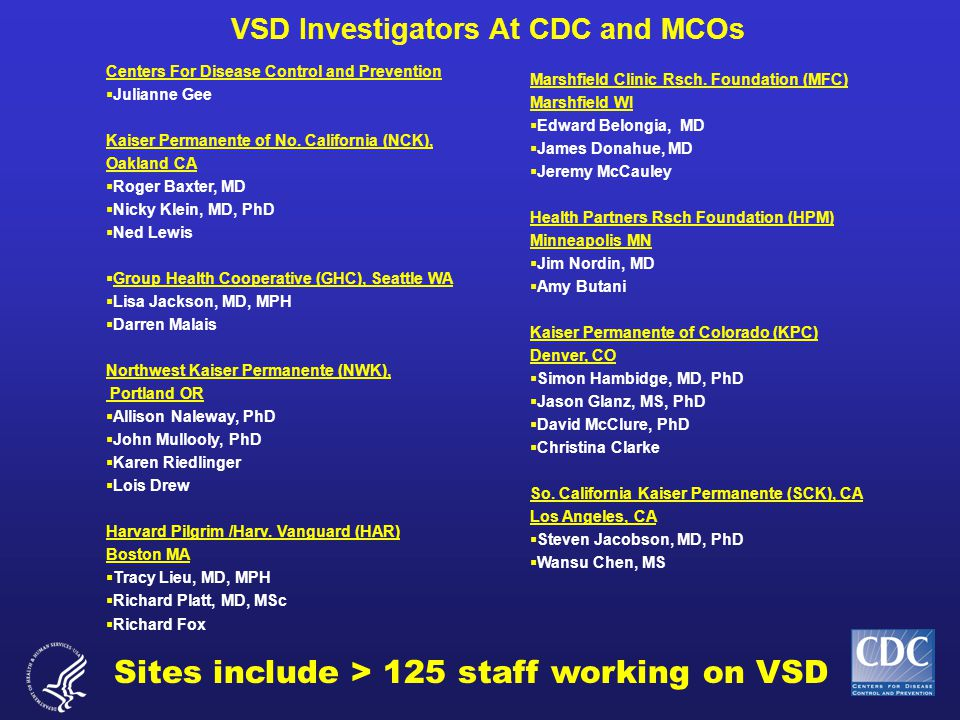 VSD Investigators At CDC and MCOs Centers For Disease Control and Prevention  Julianne Gee Kaiser Permanente of No.