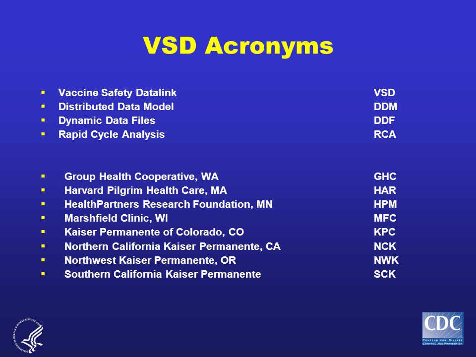 VSD Acronyms  Vaccine Safety DatalinkVSD  Distributed Data ModelDDM  Dynamic Data FilesDDF  Rapid Cycle AnalysisRCA  Group Health Cooperative, WAGHC  Harvard Pilgrim Health Care, MAHAR  HealthPartners Research Foundation, MNHPM  Marshfield Clinic, WIMFC  Kaiser Permanente of Colorado, COKPC  Northern California Kaiser Permanente, CANCK  Northwest Kaiser Permanente, ORNWK  Southern California Kaiser Permanente SCK