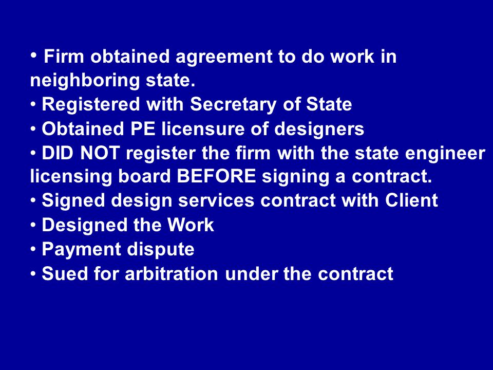 Firm obtained agreement to do work in neighboring state.