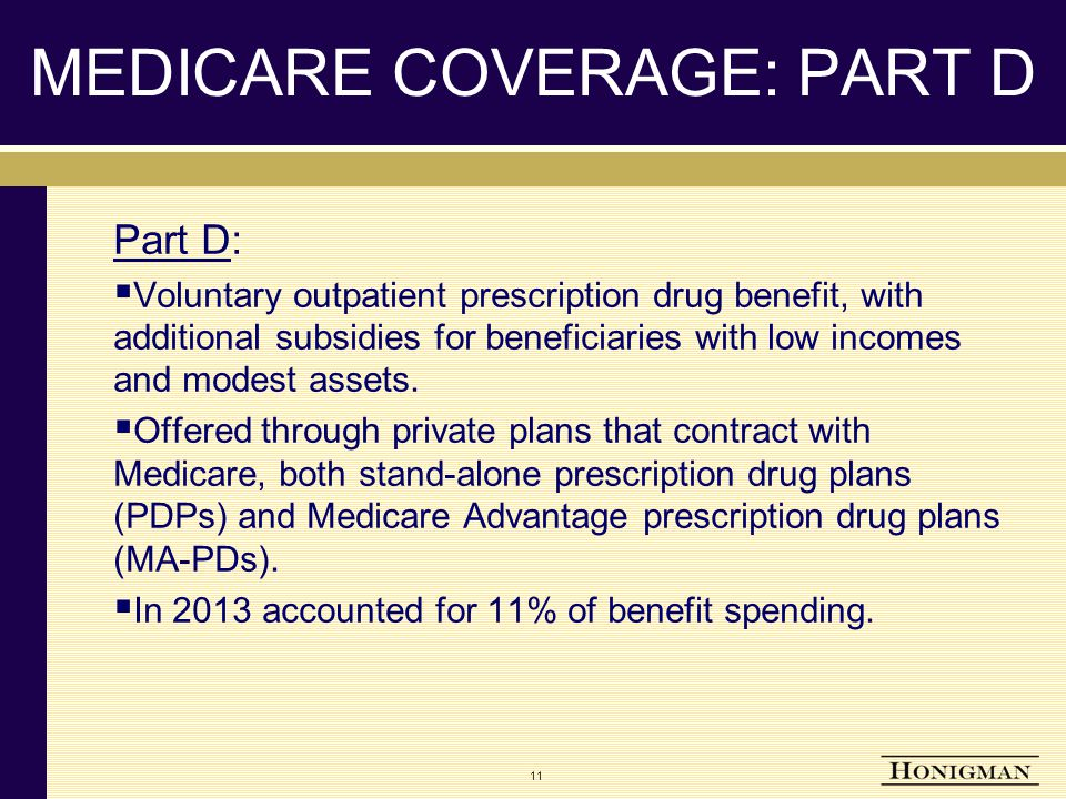 MEDICARE COVERAGE: PART D Part D:  Voluntary outpatient prescription drug benefit, with additional subsidies for beneficiaries with low incomes and modest assets.