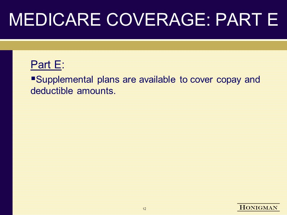 MEDICARE COVERAGE: PART E Part E:  Supplemental plans are available to cover copay and deductible amounts.
