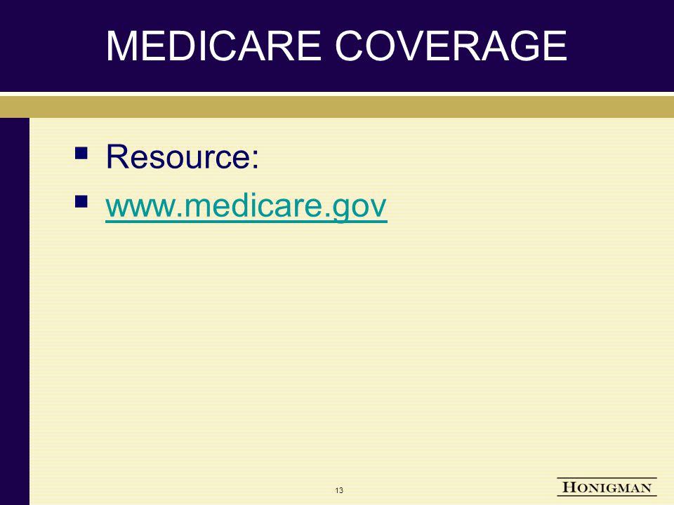 MEDICARE COVERAGE  Resource:  www.medicare.gov www.medicare.gov 13