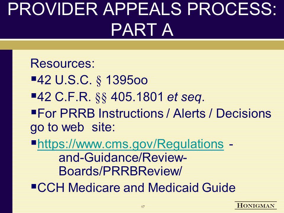 17 PROVIDER APPEALS PROCESS: PART A Resources:  42 U.S.C.