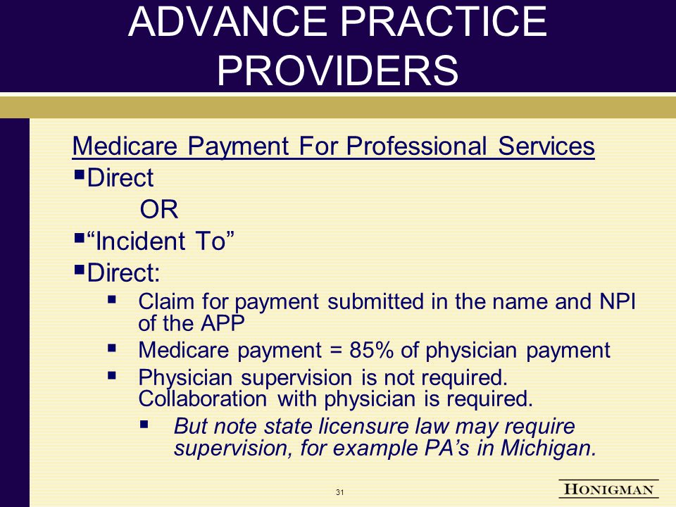 31 ADVANCE PRACTICE PROVIDERS Medicare Payment For Professional Services  Direct OR  Incident To  Direct:  Claim for payment submitted in the name and NPI of the APP  Medicare payment = 85% of physician payment  Physician supervision is not required.