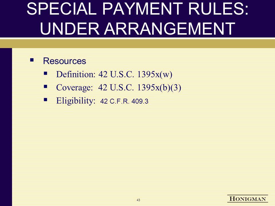 SPECIAL PAYMENT RULES: UNDER ARRANGEMENT  Resources  Definition: 42 U.S.C.