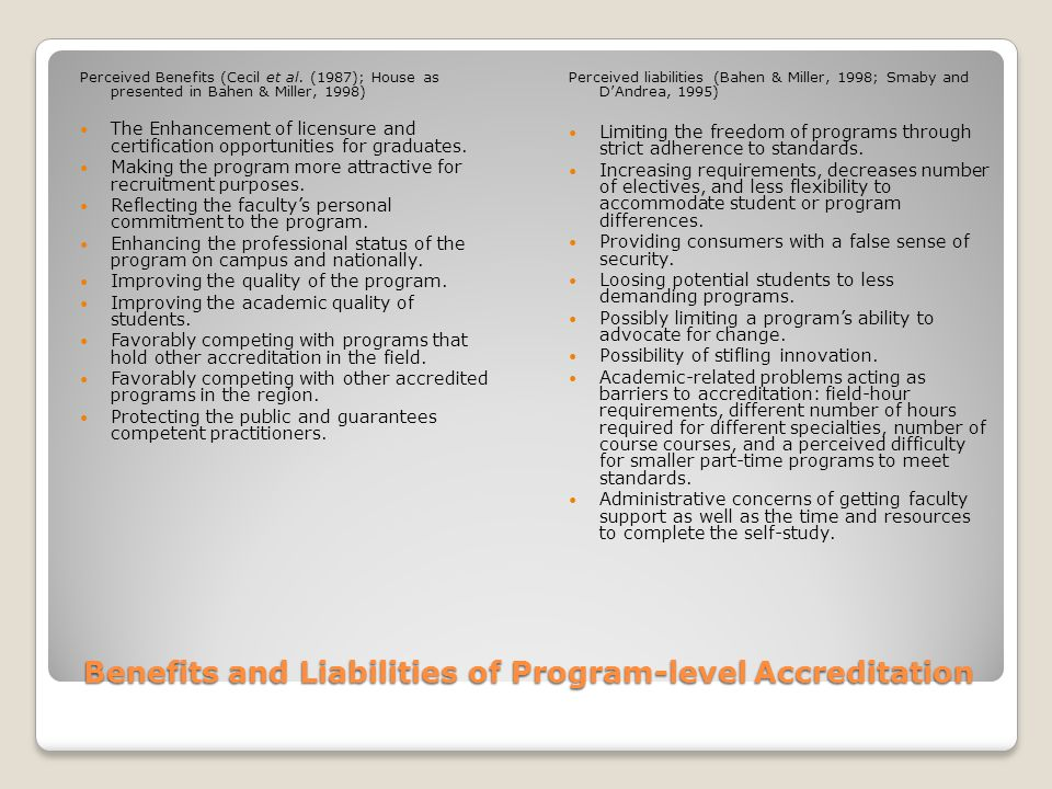Benefits and Liabilities of Program-level Accreditation Perceived Benefits (Cecil et al.