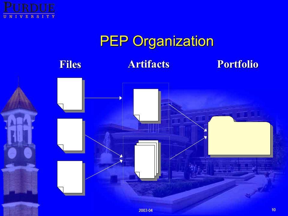 2003-04 10 PEP Organization FilesArtifactsPortfolio