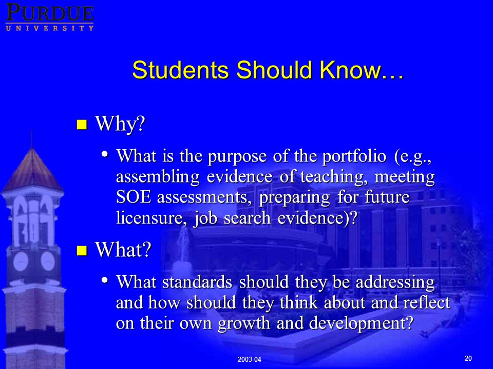 2003-04 20 Students Should Know… n Why.