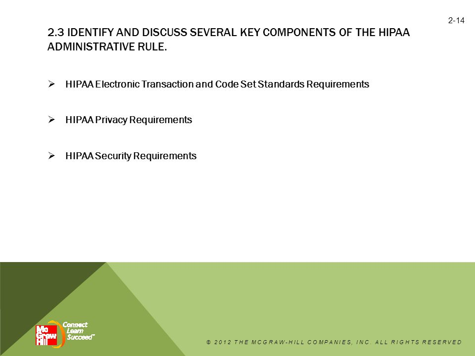 2.3 IDENTIFY AND DISCUSS SEVERAL KEY COMPONENTS OF THE HIPAA ADMINISTRATIVE RULE.  HIPAA Electronic Transaction and Code Set Standards Requirements 