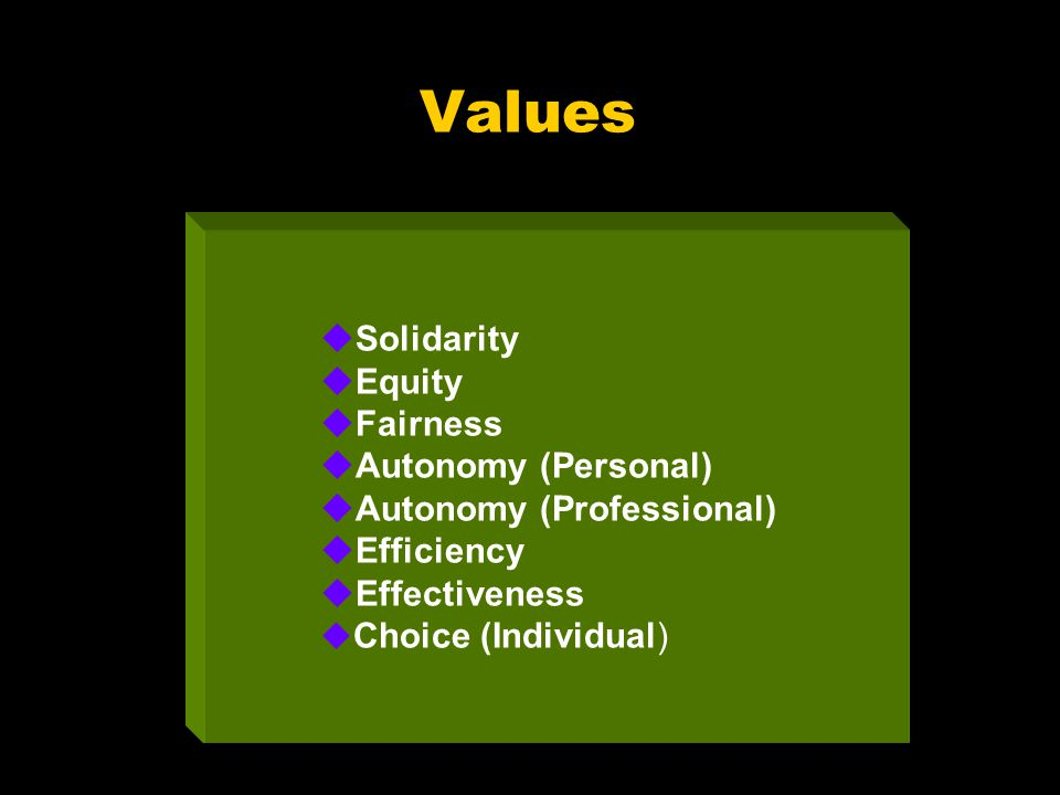 Values uSolidarity uEquity uFairness uAutonomy (Personal) uAutonomy (Professional) uEfficiency uEffectiveness u Choice (Individual)
