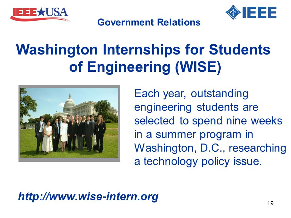 Each year, outstanding engineering students are selected to spend nine weeks in a summer program in Washington, D.C., researching a technology policy