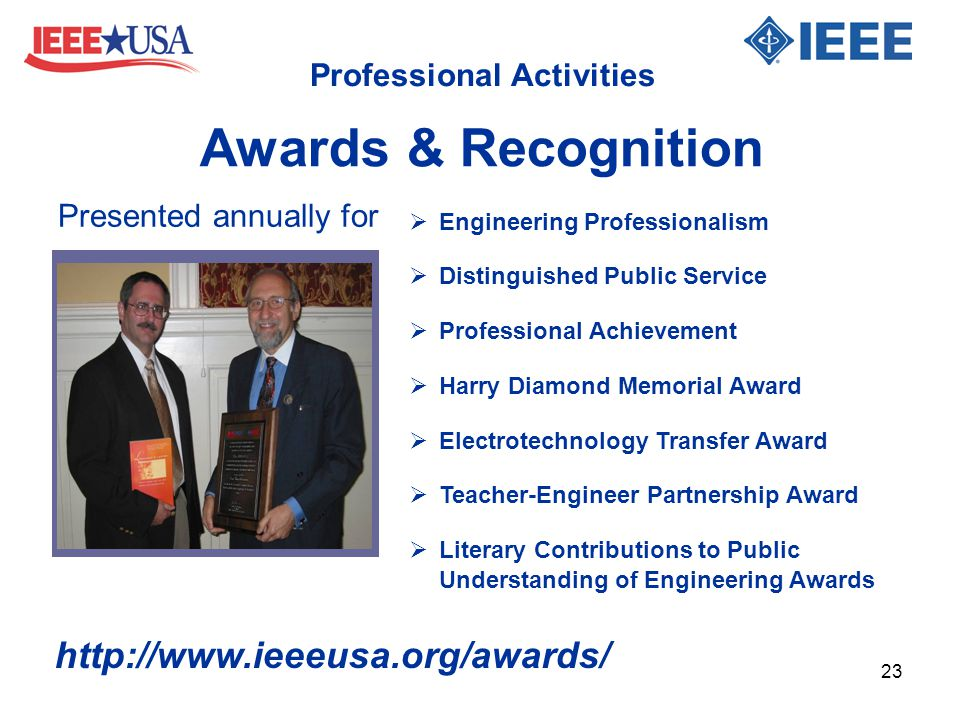 Professional Activities  Engineering Professionalism  Distinguished Public Service  Professional Achievement  Harry Diamond Memorial Award  Elect