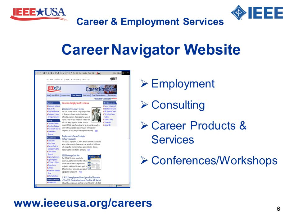 Career & Employment Services  Employment  Consulting  Career Products & Services  Conferences/Workshops www.ieeeusa.org/careers Career Navigator W