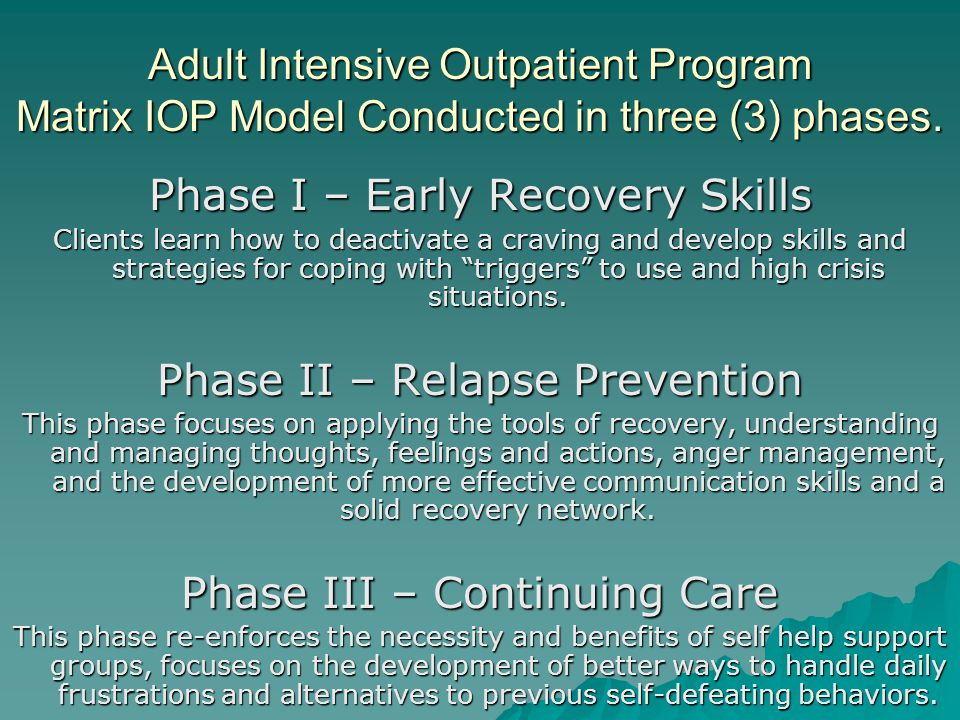 Adult Intensive Outpatient Program Matrix IOP Model Conducted in three (3) phases.