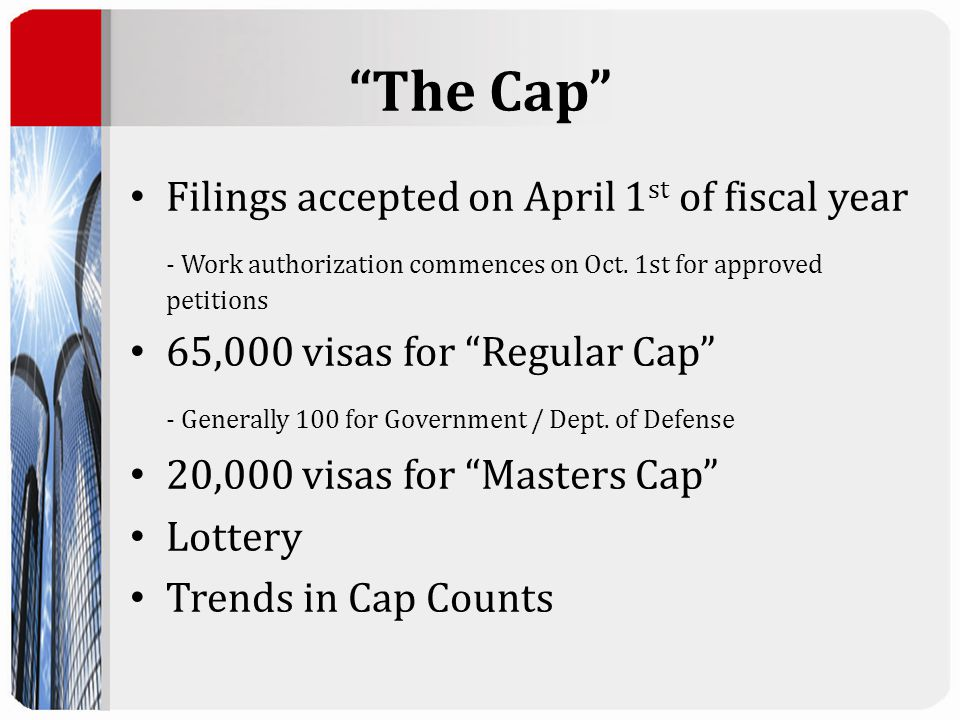 The Cap Filings accepted on April 1 st of fiscal year - Work authorization commences on Oct.