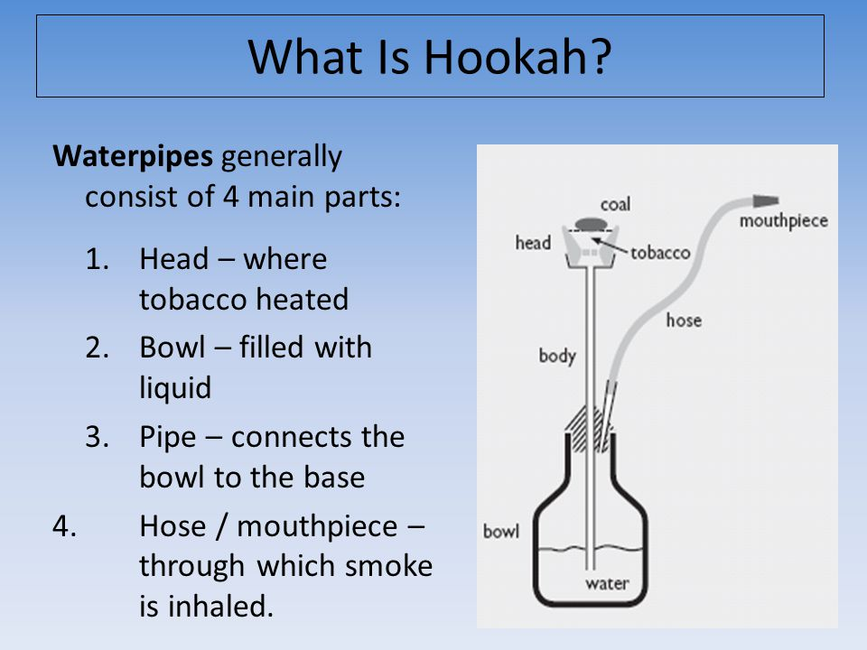 Waterpipes generally consist of 4 main parts: 1. Head – where tobacco heated 2.