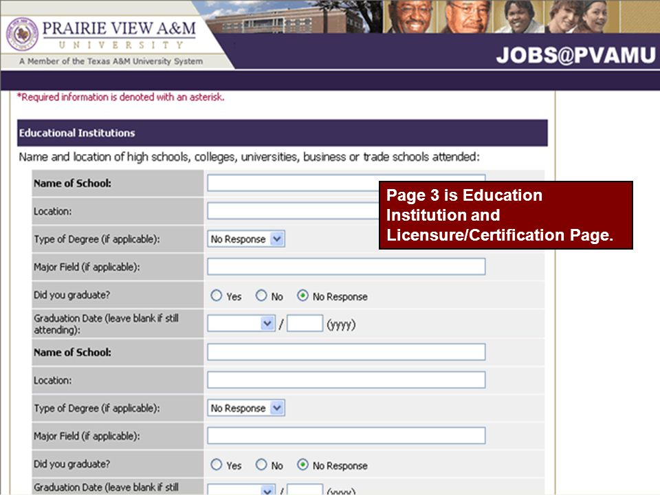Page 3 is Education Institution and Licensure/Certification Page.