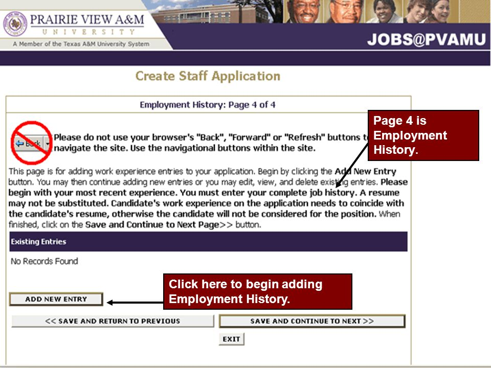 Page 4 is Employment History. Click here to begin adding Employment History.