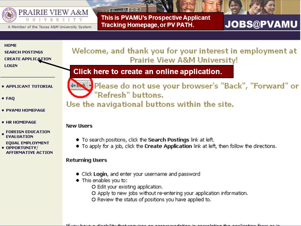 This is PVAMU's Prospective Applicant Tracking Homepage, or PV PATH.