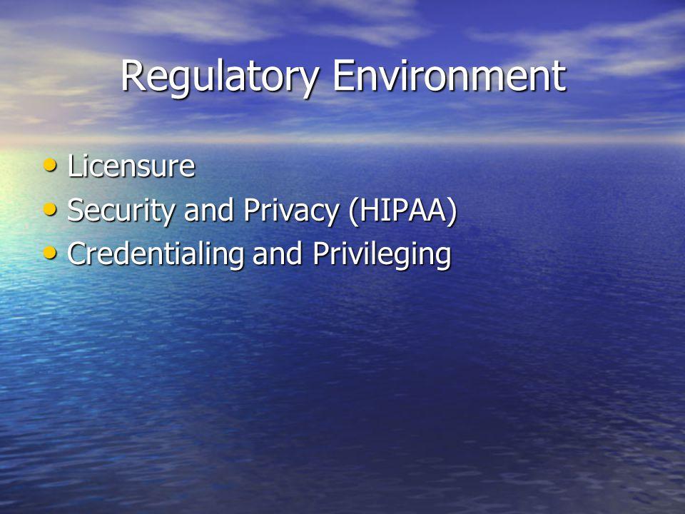 Regulatory Environment Licensure Licensure Security and Privacy (HIPAA) Security and Privacy (HIPAA) Credentialing and Privileging Credentialing and Privileging