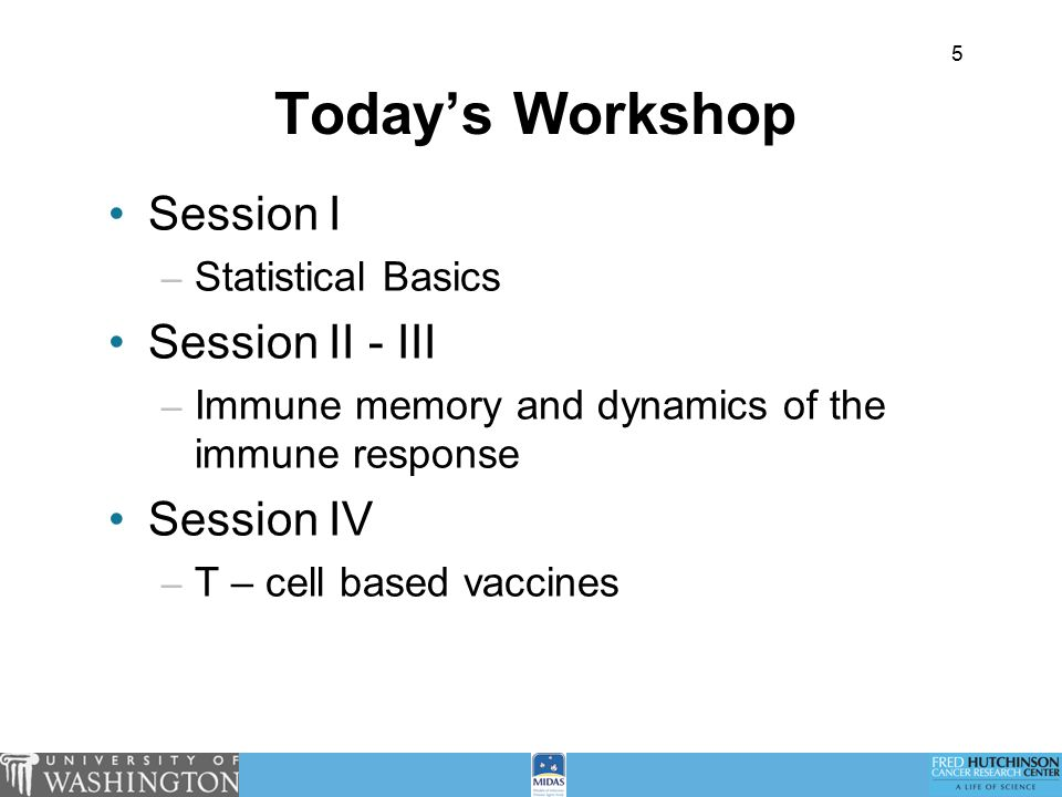 5 Today's Workshop Session I – Statistical Basics Session II - III – Immune memory and dynamics of the immune response Session IV – T – cell based vaccines