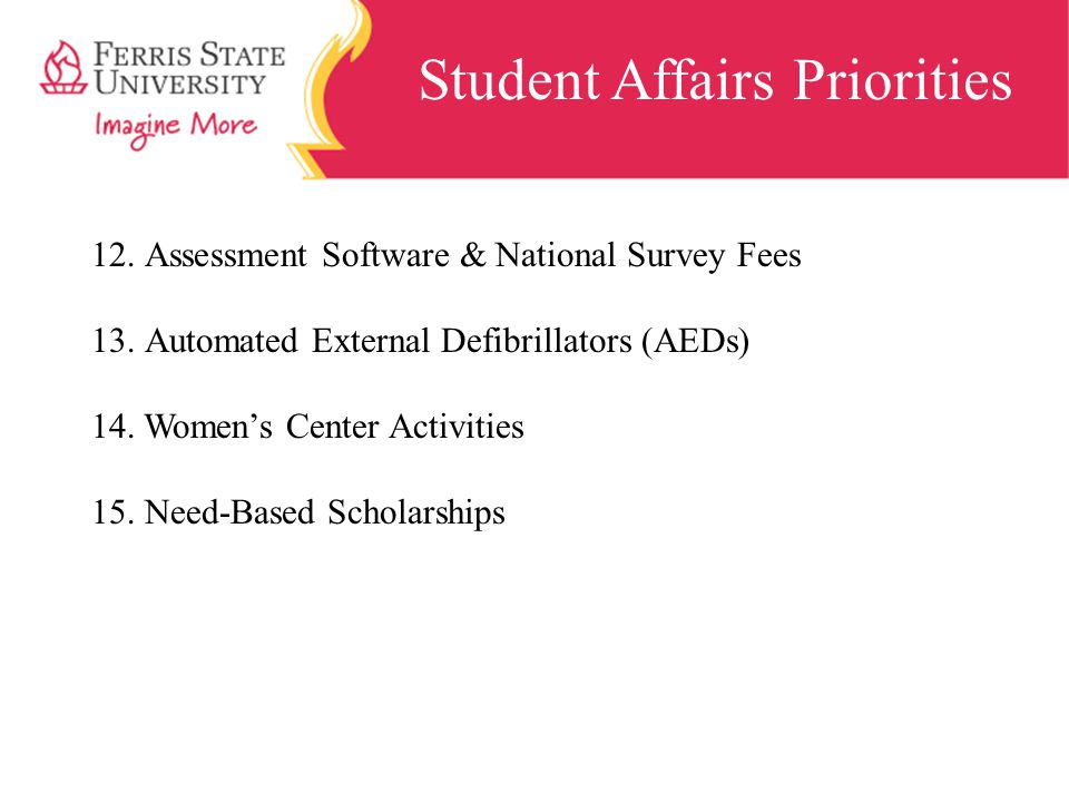 Student Affairs Priorities 12.Assessment Software & National Survey Fees 13.Automated External Defibrillators (AEDs) 14.