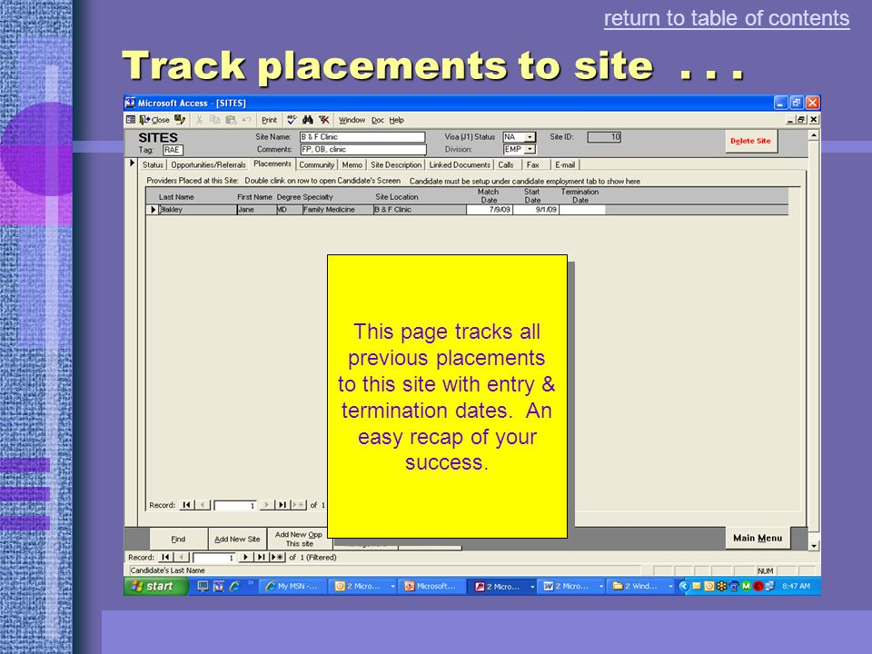 Track opportunities & referrals.. return to table of contents track each opportunity at this site select an opportunity and display the candidates ref