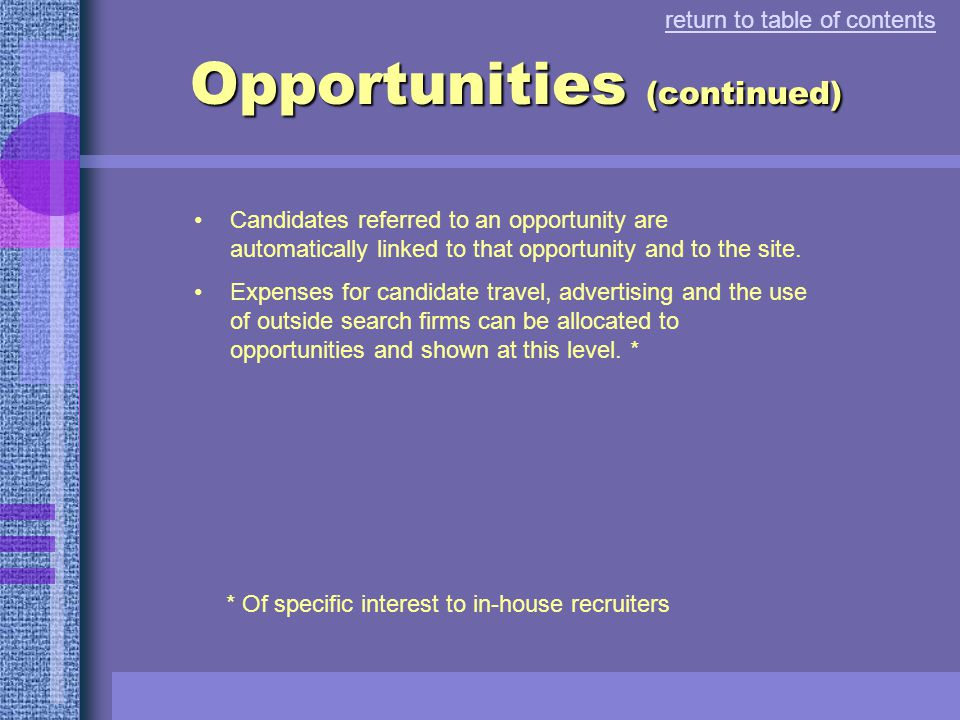 Opportunities Sites can have one or more opportunities over time.