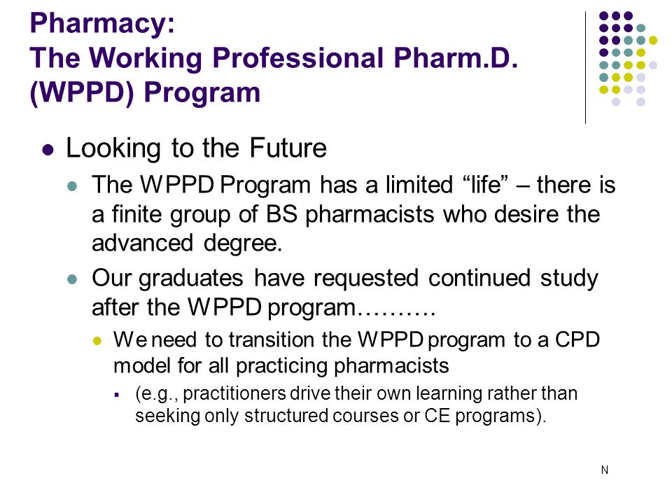 Looking to the Future The WPPD Program has a limited life – there is a finite group of BS pharmacists who desire the advanced degree.